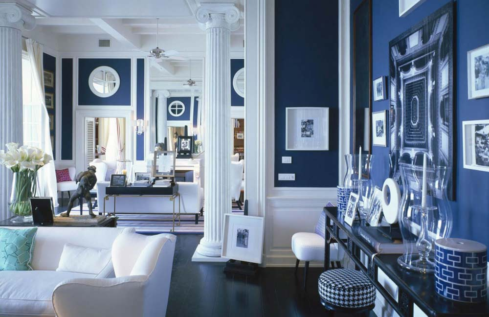 white-and-navy-living-room